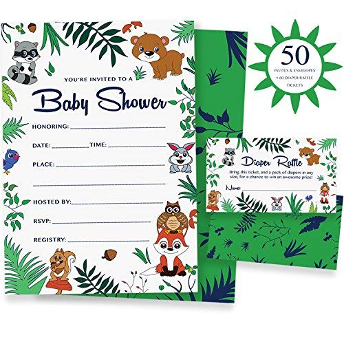 Woodland Baby Shower Invitations & Diaper Raffle Game - 50 Animal Theme invites & envelopes for a Girl, boy or Gender Neutral Party | Alpine Celebrations