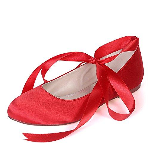 pour L Femmes Plate Mariage Talons YC Forme Orteil 0 de Ruban Demoiselles Red Talon 6 Fermée d'honneur Bas Chaussures Mode comme cm 0rqrXI