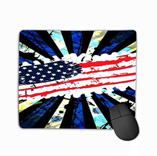 Mousepad Non Slip Rubber Personalized Unique Gaming Mouse Pad 11.81 X 9.84 Inch Banner Vertical Grungy us Flag Poster Splashes Scratches Strips Abstract Background can be Used to Cover Poster