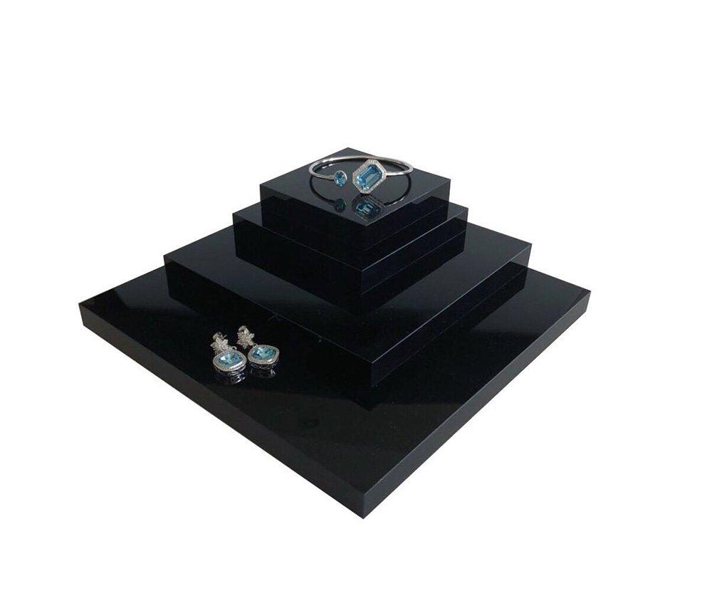 Fine Jewelry Display Platform Block Black Premium Acrylic Necklace Ring Earrings Precious Stones Photography Exhibition Art (Set of4) by Svea Display (Image #3)