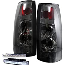 1988-1998 CHEVY C/K SERIES REAR BRAKE TAIL LIGHTS LAMP SMOKED+LED BUMPER RUNNING