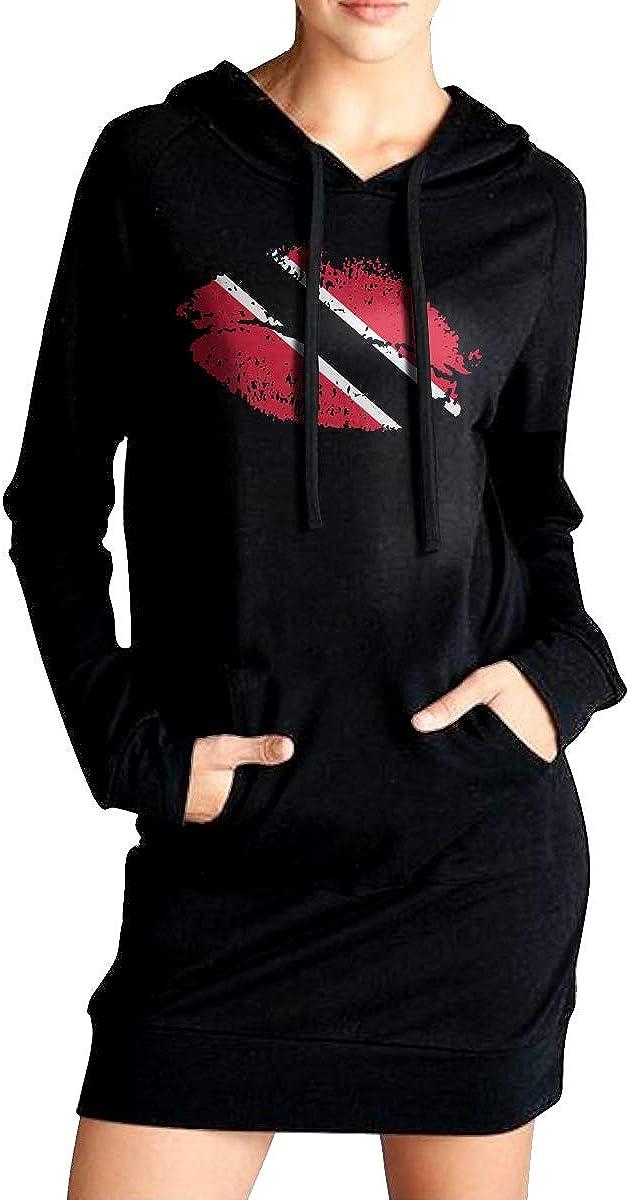Trinidad Flag Lips Outer Jacket with Kanga Pocket Womens EcoSmart Sweatshirt Long Hoodie Dress