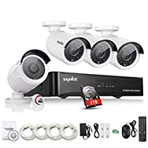 SANNCE 4CH 1080P HD NVR POE Security System with 2 TB Surveillance Hard Drive and (4) 1080P 2.0 Megapixel Weatherproof Bullet IP Cameras, Plug and Play, P2P and 100ft Night Vision