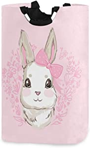 AGONA Cute Bunny Rabbit Laundry Basket with Handles Large Storage Bin Collapsible Fabric Laundry Hamper Foldable Laundry Bag for Kids Room Toy Bins Gift Baskets Bedroom Baby Nursery
