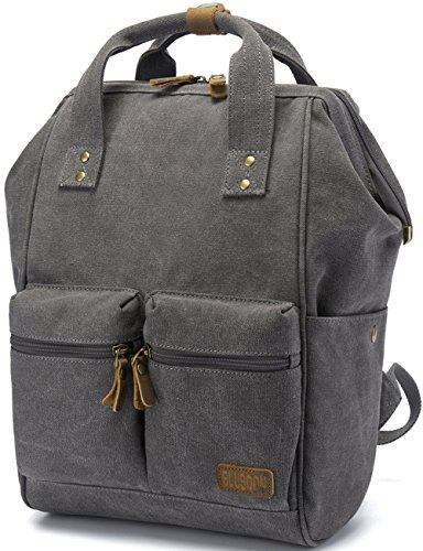 BLUBOON Canvas Vintage Backpack Leather Casual Bookbag Men Women Laptop Travel Rucksack