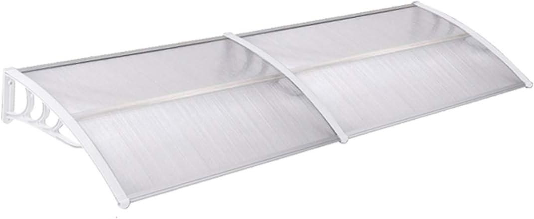 Soporte Blanco Aufun Marquesina para Puertas y Ventanas 200 x 100 cm Tejadillo de Protecci/ón Toldo Cubierta de Policarbonato en Jard/ín al Aire Libre Dosel de Techo