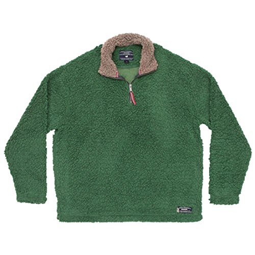 Southern Marsh Appalachian Pile Sherpa Pullover, Washed Dark Green, X-Small by Southern Marsh