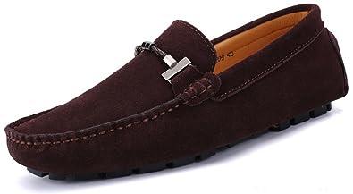 SEECEE Herren Mokassins Weich Leder Bootsschuhe Slipper Rutschfest Männer Fahrschuhe Freizeitschuhe Loafers Schuhe Schwarz 41 EU PgS2f7cGx