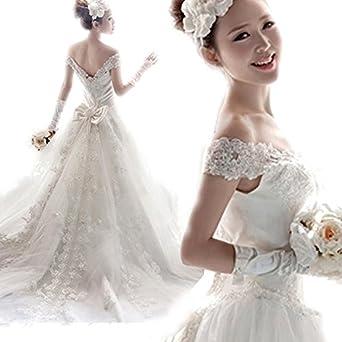 花嫁ドレス 新品 ファッション ウェディングドレス オフショルダー リボン付き ロングトレーン ハイウエスト レース ロマンチック 着痩せ 上品  ヨーロッパ風 結婚式
