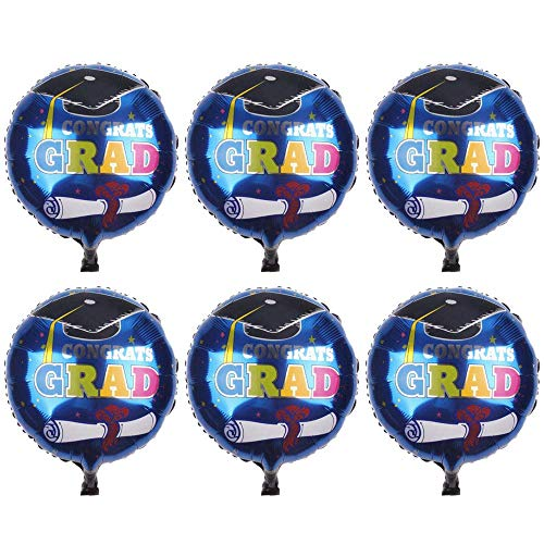 (6pcs Graduation Foil Balloons Helium Mylar Aluminum Balloons for Graduation Party Decoration - 18inch )
