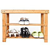 Bonnlo 3-Tier Bamboo Wood Shoe Bench, Shoe Organizer, Storage Shelf Holds Up to 264 Lbs, ideal for Entryway Hallway Bathroom Living Room and Corridor