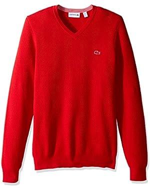Men's Textured Fancy Stitch Cotton/Wool V-Neck Sweater