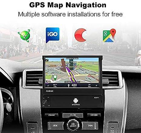 Android 8.1 Radio Coche 2G + 32G, Podofo 1 DIN Radio Coche Bluetooth 7 Pulgadas Pantalla táctil retráctil Reproductor GPS Soporte WiFi Sat Navi Mirror ...