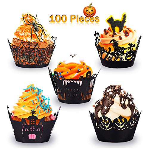 Cupcake Decorations For Halloween (Whaline 100 Pcs Halloween Cupcake Wrappers, Artistic Bake Paper Cups Black Laser Cut Cupcake Liners Cake Decoration for Halloween Theme)
