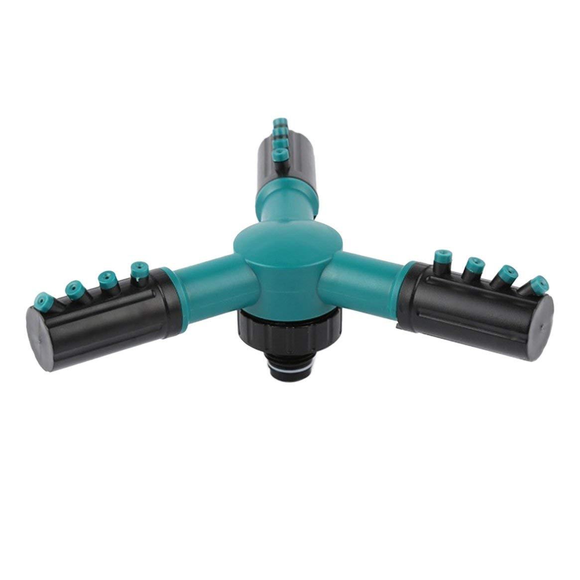Delicacydex Ugello del trigemino Regolabile irrigatore Sprinkler del Giardino di Primavera Ugello Rotante di 360 Gradi per irrigazione del Prato Inglese Fiori - Verde
