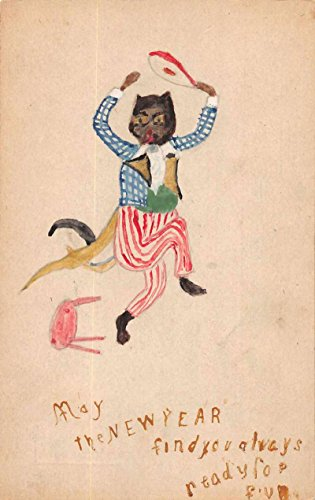 New Year Greetings Dressed Cat Hand Made Antique Postcard J66311