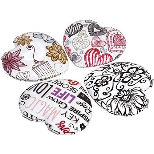 BMC 4pc Womens Heart Shaped Flower Design Compact Pocket Mirror Set (Lipstick Compact Mirror)
