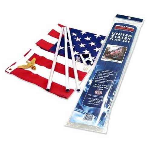 Valley Forge Flag US1-1 Residential Kit w/ 3' x 5' US Flag, Pole, red, White & Blue, Steel Bracket ()
