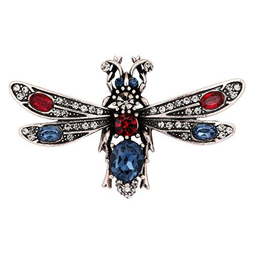 EVER FAITH Austrian Crystal Vintage Style Natural Insect Honeybee Brooch Multicolor Antique Gold-Tone