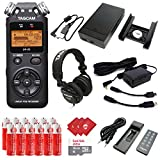 TASCAM Portable Digital Recorder with Microphones, Recording Accessory Pack, External Battery Pack, AC Power Adapter, Headphones, 16GB Memory Card, 12pcs AA Batteries and 3pcs Microfiber Cloth (DR-05)