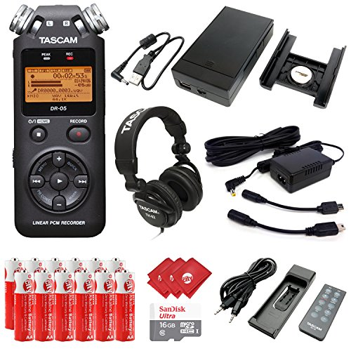 TASCAM Portable Digital Recorder with Microphones, Recording Accessory Pack, External Battery Pack, AC Power Adapter, Headphones, 16GB Memory Card, 12pcs AA Batteries and 3pcs Microfiber Cloth (DR-05) by Circuit City