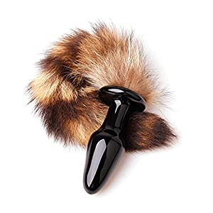 Vovii Fetish Anal Plug Fantasy Fox Tail Butt Stick Foreplay Stimulator with Fox Tail Fox Wool Adult Toy