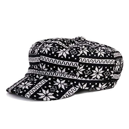 帽子キャップ 秋冬 黒い白フェルトの帽子 ヴィンテージ 八角形の帽子 女性 カジュアル,花