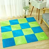 HANYUN EVA Fuzzy Area Rug Interlocking Foam Floor Cover Mats Square Carpet Tiles - Ideal for Nursery Decor, Baby Room, Playroom and Kids Room (30x30x1cm, Blue)