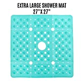 SlipX Solutions Extra Large Square Shower Mat Provides 65% More Coverage & Non-Slip Traction (27' Sides, 100 Suction Cups, Great Drainage) (Aqua)