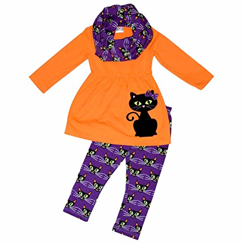 Toddler Halloween Shirts (Unique Baby Girls Black Cat Halloween Outfit with Infinity Scarf (2T/XS, Purple))