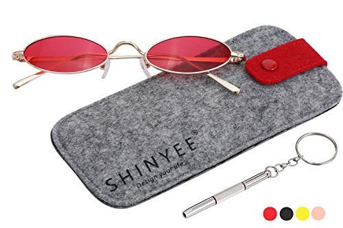 Vintage Slender Oval Super Small Sunglasses for Women Men Retro Small Round Tiny Sun Glasses for Girls Unisex with Fashion Shades (Gold Frame Red Lens)