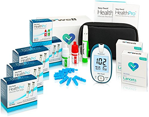Easy Touch Health Pro Diabetes Testing Kit – Easy Touch Health Pro Meter, 200 Health Pro Blood Glucose Test Strips, 200 OWell Lancets 30g, Lancing Device and Health Pro Control Solution (2 Bottles)