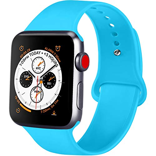 ATUP Compatible with Apple Watch Band 38mm 40mm 42mm 44mm Women Men, Soft Silicone Band Compatible with for iWatch Series 4, 3, 2, 1 (Teal, 38mm/40mm-S/M)