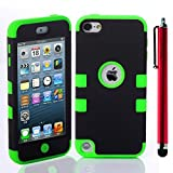 Topforcity PC + TPU Fashion Contrast color style design Hybrid Impact Armored Hard Case for Apple iPod Touch 5 with Screen Protector(black+green)
