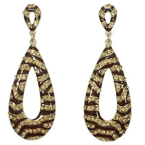 Long Drop Dangle with Rhinestones Fancy Formal Prom Earrings (Brown/Gold Tiger Stripe) - Gold Brown Tigers