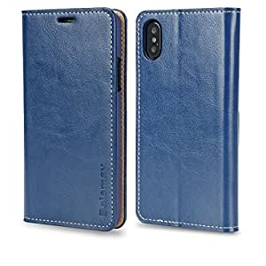 iPhone X Case, Belemay Genuine Cowhide Leather Wallet Case, Slim Protective Flip Cover Shockproof Folio Book Style for Men and Women with ID&Credit Card Holder, Kickstand Feature, Cash Pocket - Blue