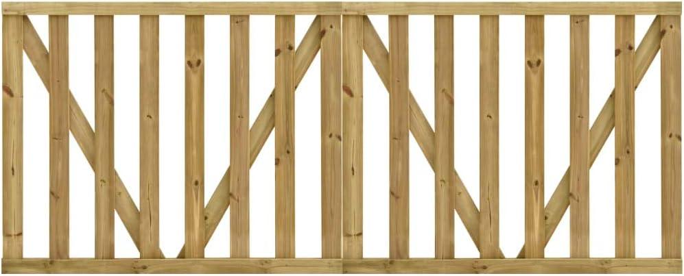 vidaXL 2x Madera de Pino Impregnada Puerta de Valla Listones de Terraza Jardín Cancelas Cerca de Valla Portal Patio Hogar contra Putrefacción