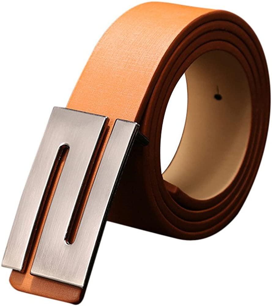 Danhjin Mens PU Leather Ratchet Dress Belt with Smooth Automatic Buckle