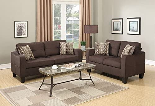 Poundex Bobkona Spencer Linen-Like Polyfabric 2Piece Sofa Loveseat Set in Chocolate