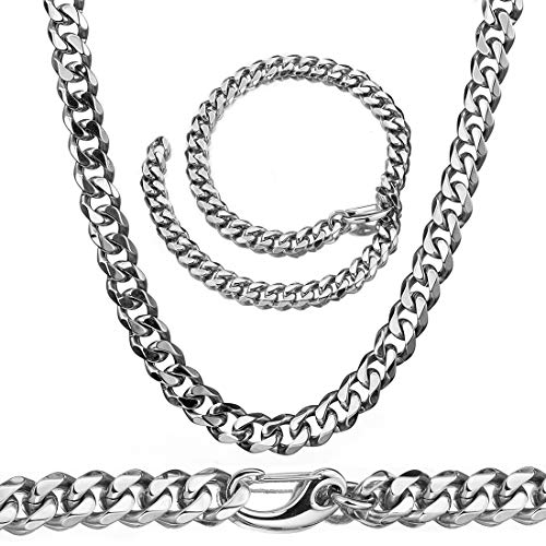 Mens Silver Tone Stainless Steel Hip Hop Miami Chain Curb Cuban Link Rapper Necklace with Tail (20) (Link Silver Chain Tone)
