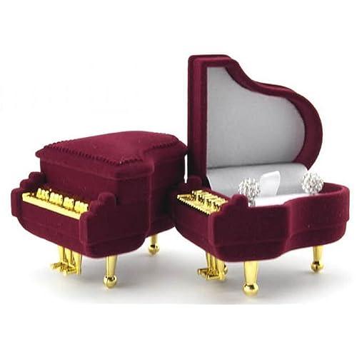 音楽好きな彼女に ピアノ風 ジュエリーボックス Jewelry BOX サプライズ プレゼント用 / イヤリング・ピアス・リングに対応 / ギフトに (ワインレッド)