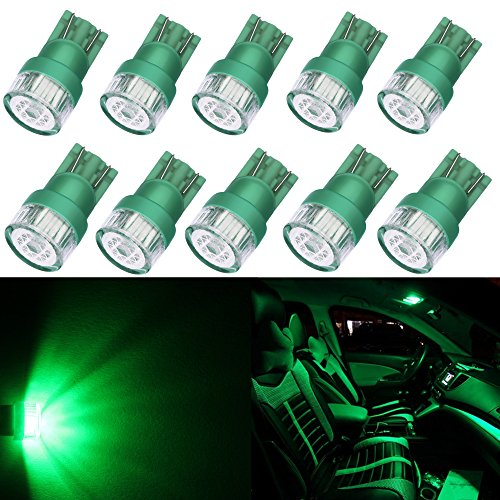 Alla Lighting 10pcs 2W High Power Super Bright 194 168 2825 175 W5W LED Bulbs - Green Miniature T10 Wedge SMD LED Lights