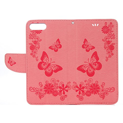 Artfeel iPhone 7 Plus Flip Hülle,iPhone 8 Plus Premium PU Leder Brieftasche Handyhülle [Ständer Funktion],Elegantes Geprägt Schmetterlings Blumen Muster mit Kredit Kartenfach Geldbörse Magnetverschlus Rosa