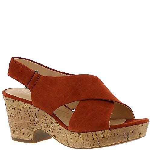 Womens Brown Rust Heels Sandals - CLARKS Women's Maritsa Lara Rust Suede/Cork 9 B US B (M)