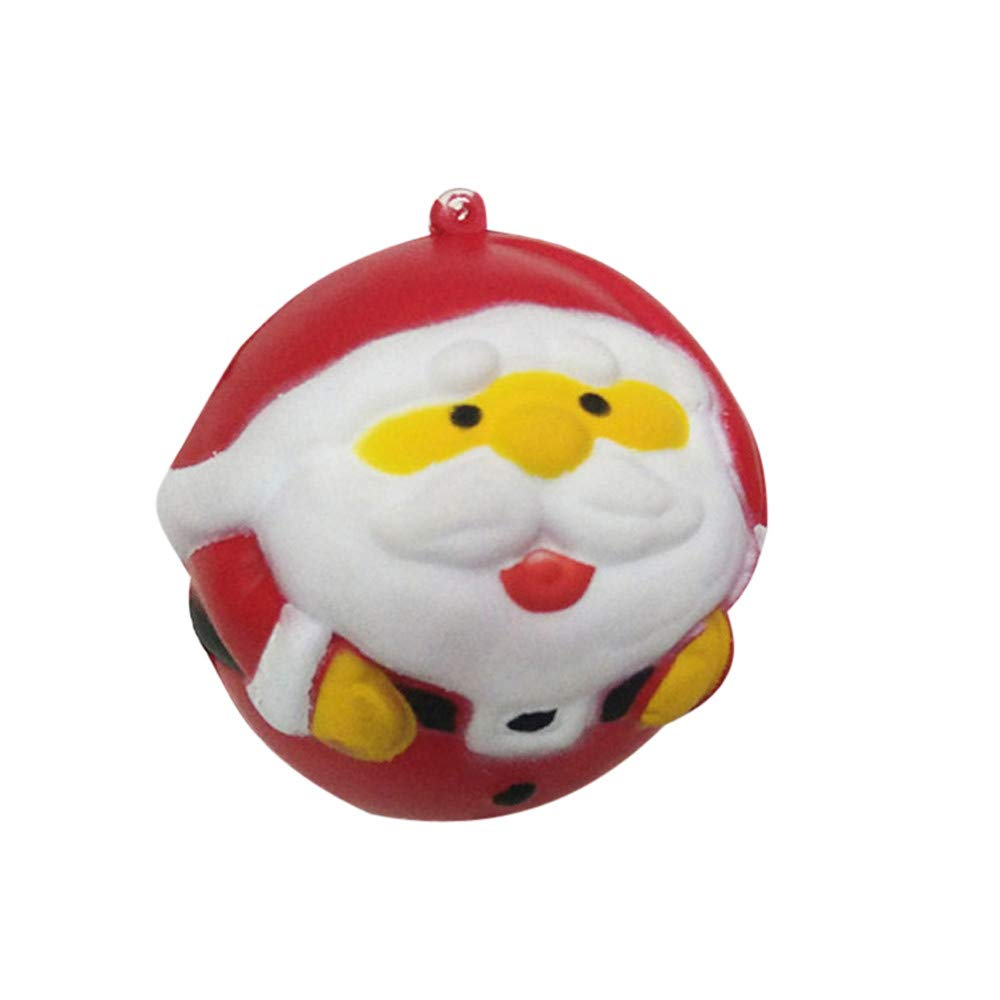 Livoty Squishies Toy Kawaii Christmas Balls Slow Rising Cream Scented Stress Relief Toys Christmas Gift (Red)