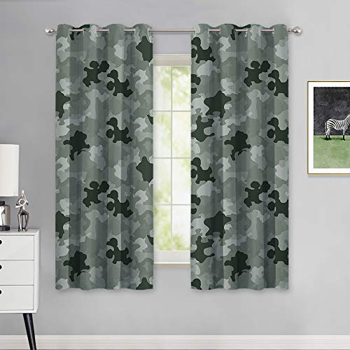 (NICETOWN Army Comforter Room Darkening Boys Camo Curtains for Bedroom, Grommet Top Military Style Camouflage Pattern Thermal Insulated Panels Drapes for Kids Room (W52 x L63, Sage Green, 2 Panels))