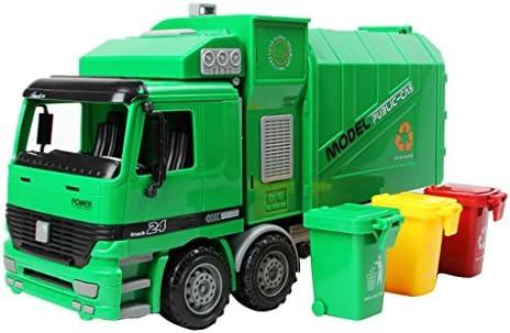 グリーン プラスチック製 現実的 デザイン 1/22 超大型 ダイキャスト 衛生ごみ収集車 モデル 引き戻し おもちゃ 贈り物