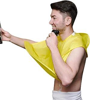 Upgrade Men Beard Shaving Aprons Cape Beard Trimming Bib Waterproof & Non-Stick Hair Catcher (Yellow)