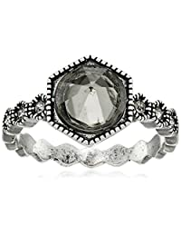 "LUV AJ ""In Full Bloom"" The Hex Stud Statement Silver Ring"