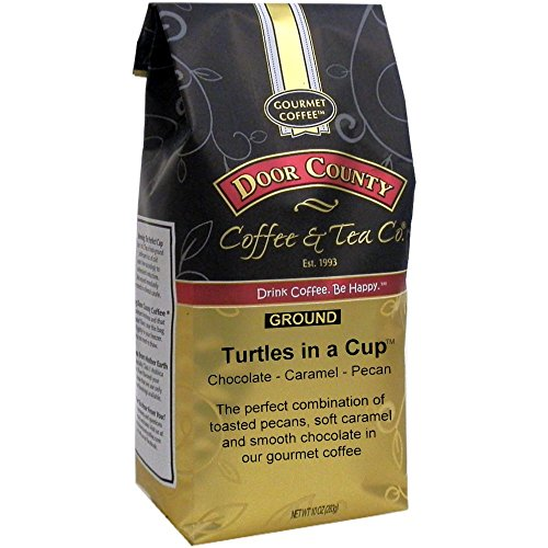 Door County Coffee, 10oz Bags (Turtles in a Cup, (Caramel Turtle Whole Bean Coffee)